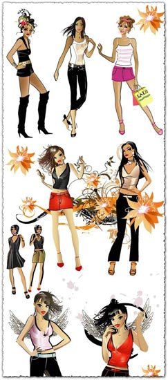 Fashion girls vector design
