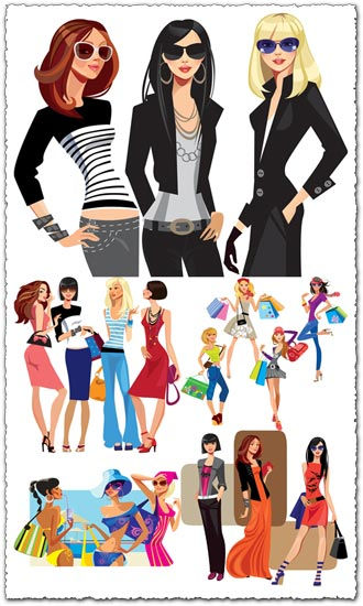 Fashion girls with bags vector