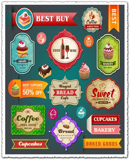 Fine food and dining label vector