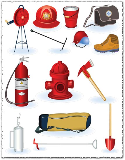 Fire safety tools vector