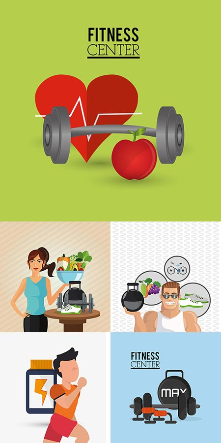 Fitness lifestyle vector banners