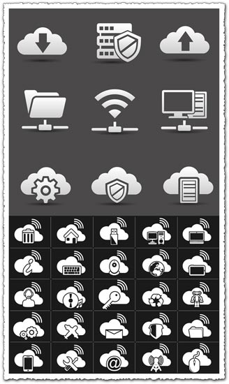 Flat network icons vectors