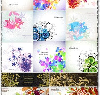 Floral cards and banners
