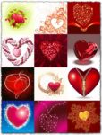 Love postcards with floral hearts vectors