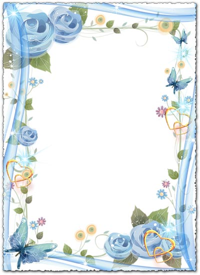 Floral photo frame with hearts and butterflies