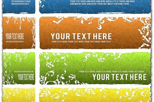 Floral banners with grunge background vectors
