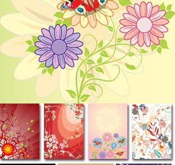 Spring floral vector cards