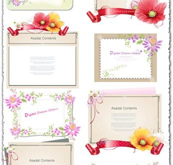 Flower border vector banners