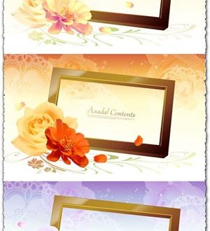 Vector flower frames