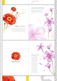 Vector flower postcards design