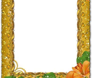 Photoshop frame gold PNG