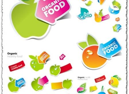 Fruits and vegetables vector stickers