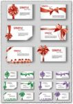 Gift cards with colored bows vectors