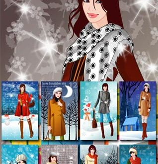 Girls in the winter vectors