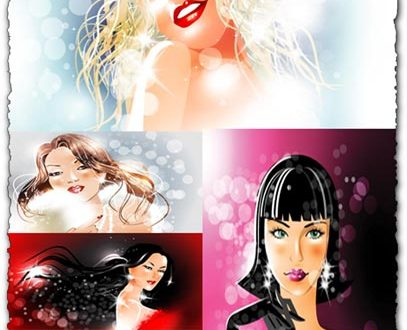 Glamour and shiny girls vectors