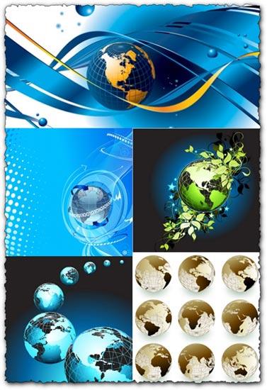 Globe shapes vector design