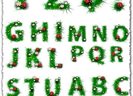 Grass alphabet letters vector