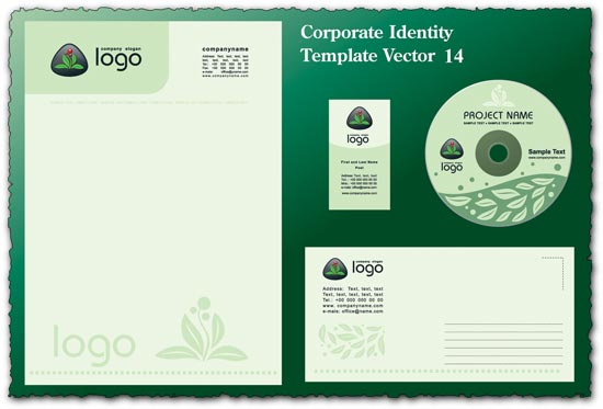 Green corporate identity vector template