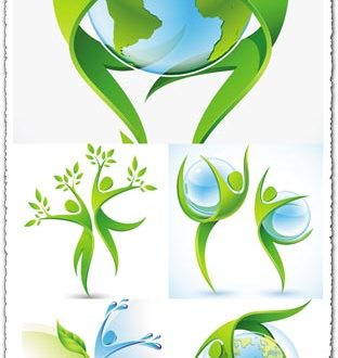 Green ecology concept vectors