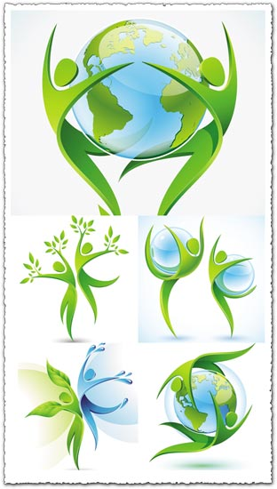 Green ecology concept vectors