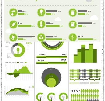 Green infographics charts vector