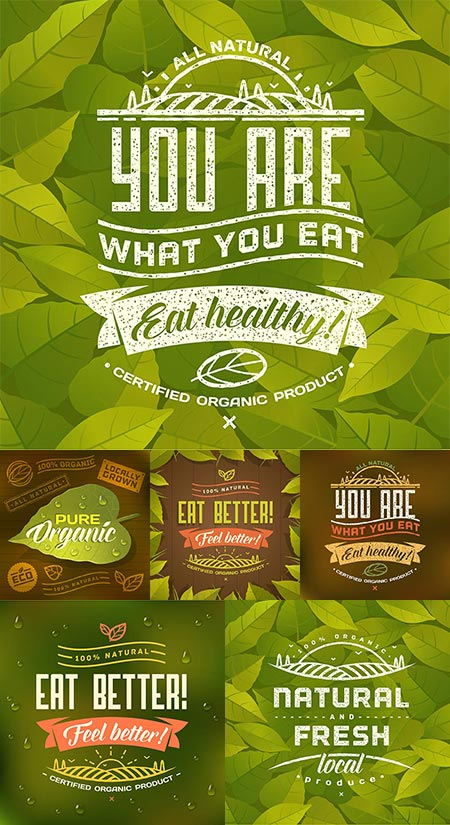 Green organic lifestyle vector banners