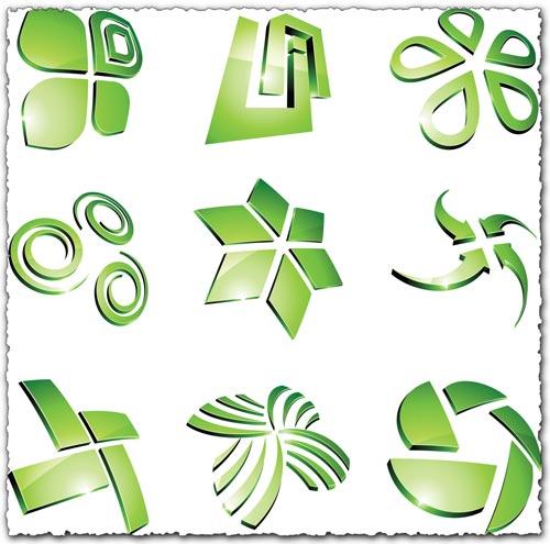 Green vector logo templates