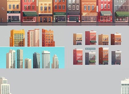 Grouped downtown buildings vector illustrations