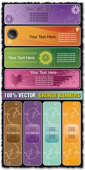 Grunge banners with curly effects vectors