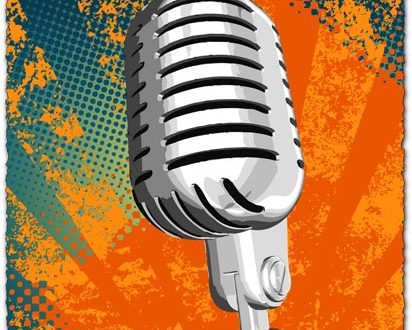 Grunge microphone vector design