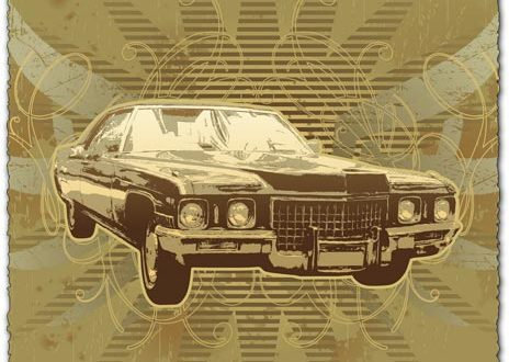 Grunge old car vector template