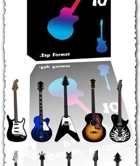 Electric and classic guitar vectors