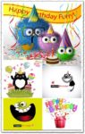 Happy birthday postcards vectors