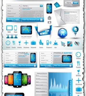 Headers, sliders and buttons vector design