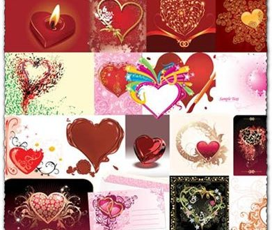Hearts vectors with abstract backgrounds