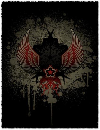 Heraldic grunge wings vector