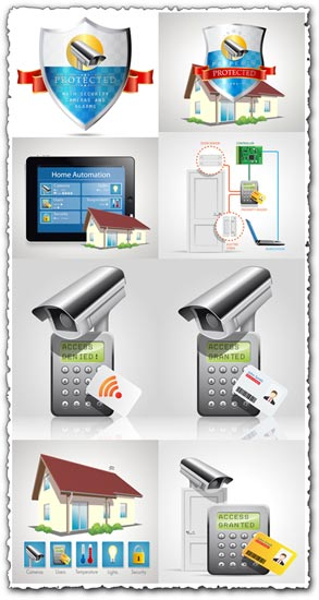 High-Tech security elements vectors