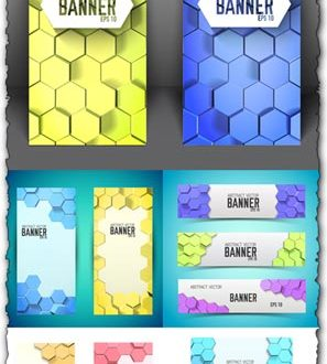 Honeycomb vector banners