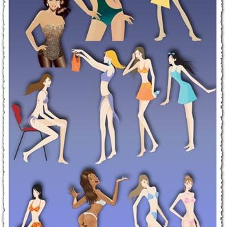 Hot bikini girls vectors
