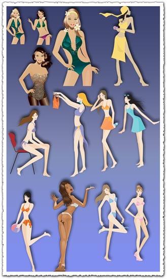 Hot bikini girls vectors