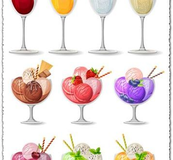Ice cream cocktails vectors