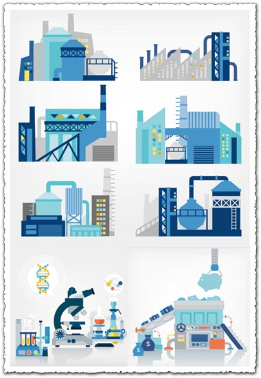 Industrial plants and science vectors