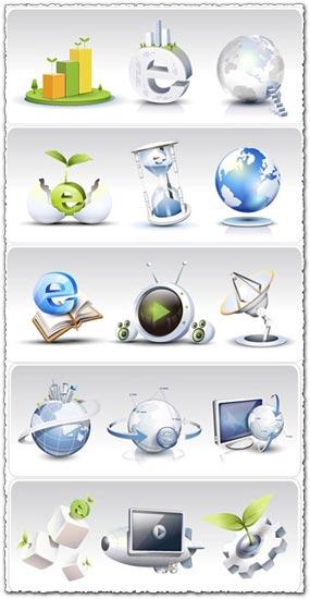 Internet icons set asadal style