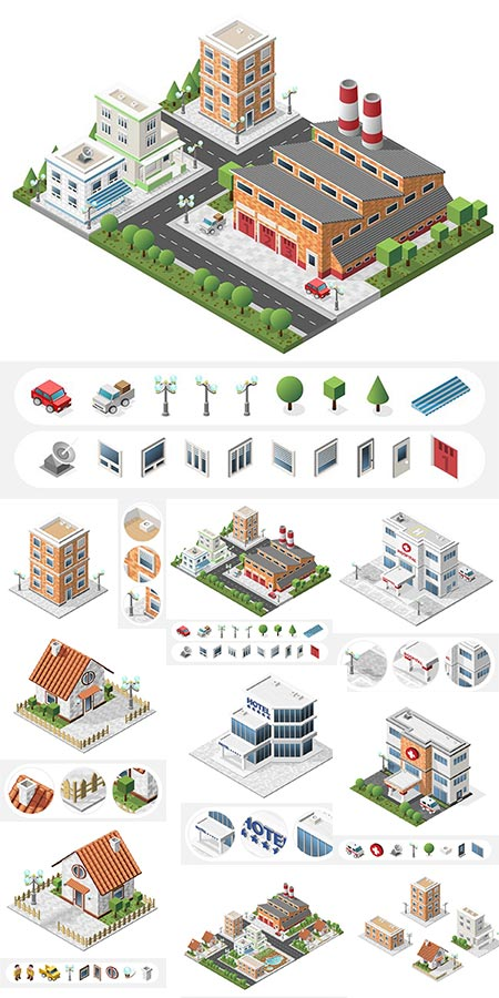Isometric big buildings vector city