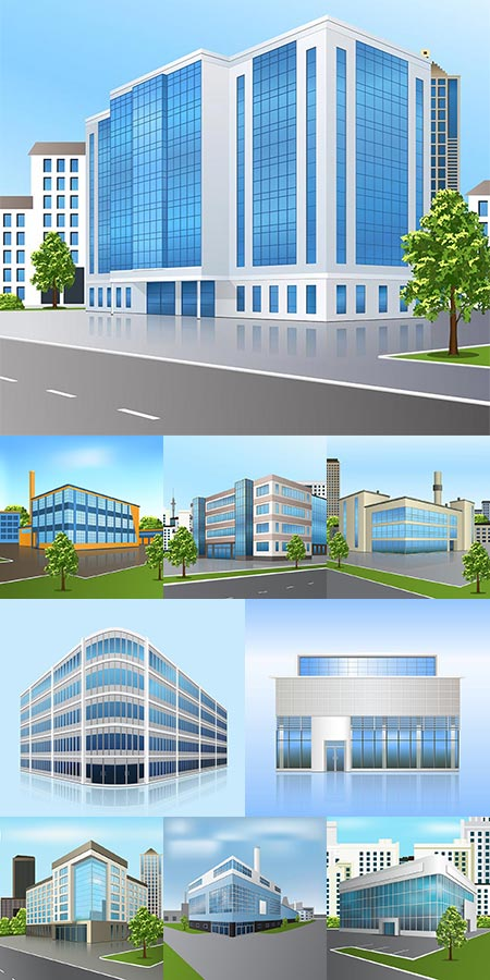 Isometric business office vector architecture