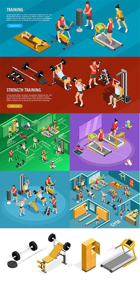 Isometric gym with sports equipments vectors
