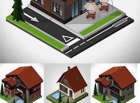 Isometric house vector templates