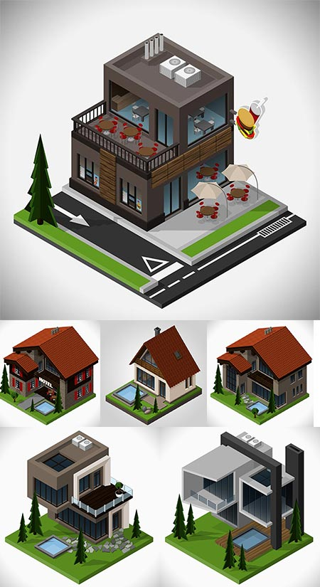 Isometric house vector templates
