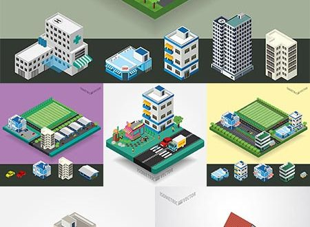 Isometric street buildings concept vectors