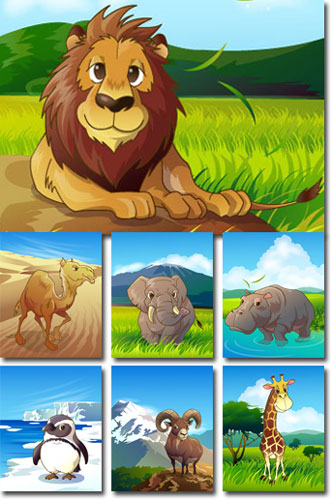 Jungle animals cliparts